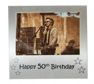 Happy 50th Birthday - Photo Frame Gift - Photo Size 5 x 3.5 Inches (13 x 9 cm) - Brushed Aluminium Satin Silver Colour.